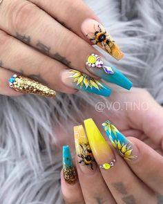 70 Alluring Acrylic Coffin Nails Design Ideas This Summer . Coffin Nails coffin nails uses Beautiful Nail Designs, Cute Nail Designs, Acrylic Nail Designs, Stylish Nails, Trendy Nails, Cute Nails, Ballerina Acrylic Nails, Best Acrylic Nails, Bling Nails