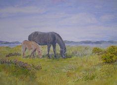 Exmoor Ponies. Mare and foal. Moorland wildflowers sea, Original art   realism