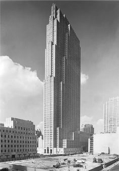 The Rockefeller Center, New York City, from the old Union Club by Samuel Gottscho 1933.