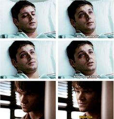 OI was so impressed with the make up in this episode. This is one of the few times that Dean actually LOOKED ill (as opposed to sexy-while-covered-in-blood.) <<<<< this sums up the entire show Supernatural Quotes, Supernatural Tv Show, Supernatural Seasons, Sherlock Quotes, Winchester Boys, Winchester Brothers, Demon Dean Winchester, Winchester Supernatural, Jared And Jensen