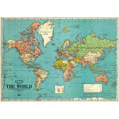 Cavallini World Map 4 Wrapping Paper - Paper Source