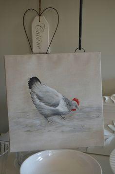 troisième essai ...Une poule peinture Acrylique