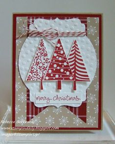 Stampin' Daily: Festival of Trees Stamped Christmas Cards, Stampin Up Christmas, Christmas Cards To Make, Christmas Tag, Holiday Cards, Stamping Up Cards, Winter Cards, Card Making Inspiration, Homemade Cards