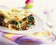 Lasagne mit Pfifferlingen und Spinat