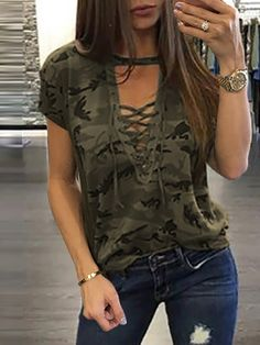 Women Stylish Camouflage Lace-up Casual Top