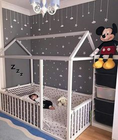 Toddler Floor Bed - perfect for wriggly little ones, so they can't fall out! We love the grey and white colour scheme and constellation of friendly little stars in this room too. Baby Bedroom, Baby Room Decor, Nursery Room, Girls Bedroom, Bedroom Decor, Bedroom Modern, Bedroom Lighting, Bedroom For Kids, Kids Room Bed