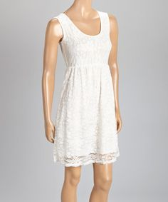Love this White Lace Sleeveless Dress by jon & anna on #zulily! #zulilyfinds