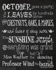 """""""October's Party"""" Free Printable with wood or chalkboard background     unOriginalMom.com"""
