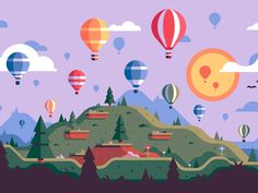 Sunset designed by Matt Anderson for WiseBanyan. Connect with them on Dribbble; Landscape Illustration, Flat Illustration, Character Illustration, Graphic Design Illustration, Digital Illustration, Vector Design, Vector Art, Vector Illustrations, Vector Graphics