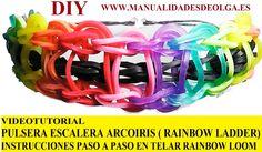 COMO HACER PULSERA ELÁSTICA MODELO ESCALERA ARCOIRIS EN TELAR RAINBOW LOOM TUTORIAL ESPAÑOL DIY