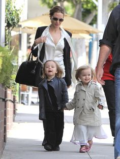 Angelina with twins Vivienne and Knox
