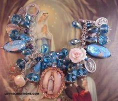 Catholic Virgin Mary OL Lourdes, Saints Religious Medals Charm Bracelet www.letyscreations.com #catholic #virginmary #ourladylourdes #jewelry