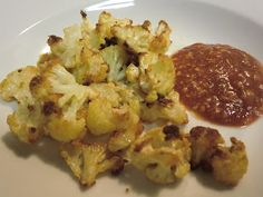 Roasted Cauliflower Poppers with a Marinara dipping sauce