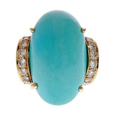 Turquoise and Diamond Dome Ring