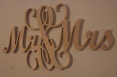 Mr and Mrs Wooden Wedding Sign Monogram