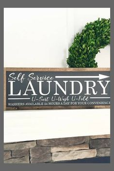 "Ready to ship * Laundry Sign | Farmhouse style | Gallery Wall Signs | Laundry Decor | Painted wood sign | Approximately 24""x9"" #wood #woodsigns #ad #decoration #homedecor #rustic #farmhouse #laundryroom"