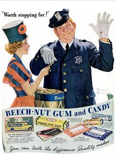 1937 Vintage Advert - Beech Nut Gum and Candy (Norman Rockwell)