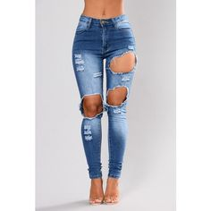 Kayley Skinny Jeans Blue (£27) ❤ liked on Polyvore featuring jeans, ripped jeans, blue ripped skinny jeans, high waisted distressed skinny jeans, high waisted skinny jeans and ripped blue jeans