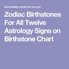 Zodiac Birthstones For All Twelve Astrology Signs on Birthstone Chart