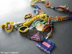 The Slightly Ugly Necklace. Handmade Beaded Freeform Collage Fringe | SagesCupboard - Jewelry on ArtFire