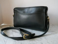 Coach East-West Cross Body Bag // 1970s Black by pearlsvintage