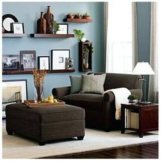 Living room color schemes with brown furniture living room colors medium Living Room Color Schemes, Paint Colors For Living Room, Living Room Designs, Living Room Decor Light Blue Walls, Colour Schemes, Brown And Blue Living Room, Brown Couch Living Room, Cozy Living, Small Living