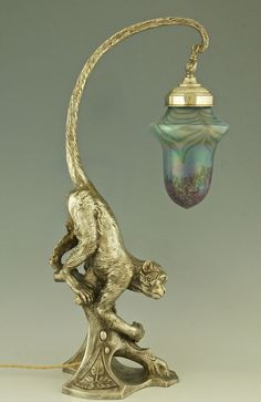 Original 1900 ART Nouveau Lamp IN THE Shape OF A Monkey With Loetz Glass Shade | eBay