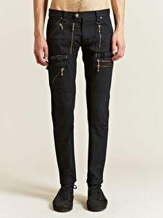 Blackmeans Black Denim Moto / Biker Pants Size US 29 - 5
