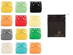 Amazon.com: FuzziBunz® One Size Elite Cloth Diapers 12 Pack Gender Neutral Colors with Dainty Baby Reusable Bag Bundle, Colors May Vary: Bab...