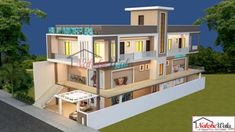 front elevation designs for duplex houses in india Duplex House Design, House Front Design, Dream Home Design, Building Elevation, House Elevation, Multi Storey Building, Front Elevation Designs, Affordable Housing, Types Of Houses