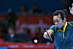 Miao Miao hits back to Dana Hadacova on the first day of competition for the Australian Table Tennis team at Excel Stadium. Photo: Brendan Esposito