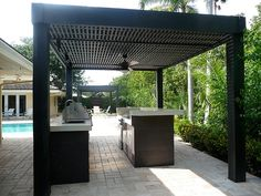 Great modern pergola with dark wood.