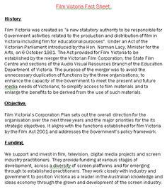 Film Victoria Fact Sheet