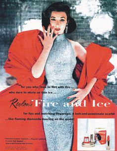 """Top 1940s-50s model Dorian Leigh in Revlon's famous Fire and Ice ad, 1952. She was 35 years old at the time (she was 5'5"""" and started modeling at 27). Photographed by Richard Avedon."""