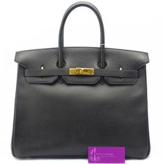 Model : 35cm Birkin Price : Please email us at luxuryvintagekl@gmail.com Material : Ardennes Leather Hardware : Gold Colour : Black Condition : Good