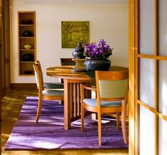 The combination of purple and green in the interior