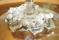 Bridal Shower Favor, Bridesmaid Wineglass Charms, Bridal Party Wine Glass Charms on Etsy, $21.95 CAD