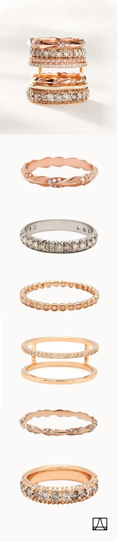 Anna Sheffield stacking nesting wedding bands and diamond dusted lifestyle rings