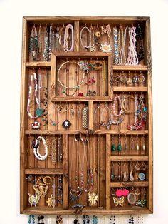 Jewelry Organizer Earring Holder Handmade by barbwireandbarnwood