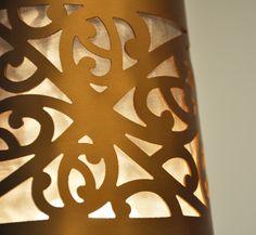 Bruce Mackinnon Kura Gallery New Zealand Art Design Table Lamp Gold Kowhaiwhai Furniture Det