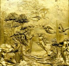 What Is a Bas Relief?: Lorenzo Ghiberti (Italian, 1378-1455). Creation of Adam and Eve, ca. 1435. East Doors, Baptistery of San Giovanni. Florence, Italy. Gilt bronze. 79.4 cm (31 1/4 in.) square