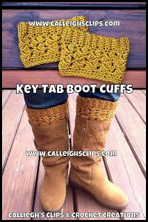 Calleigh's Clips & Crochet Creations - FREE Pattern - Key Tab Boot Cuffs