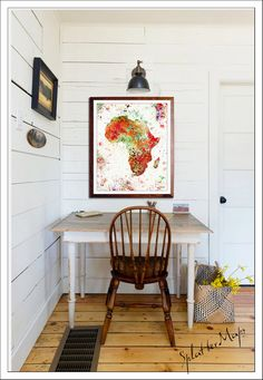 Africa Map Map Art Vintage Map Watercolor Map Map by SplatterMaps