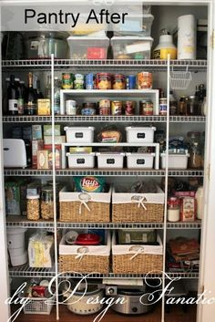 Pantry organization ideas wire shelves lined and inserted shelf for canned goods