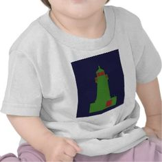 Green and Red Lighthouse. Tee Shirts