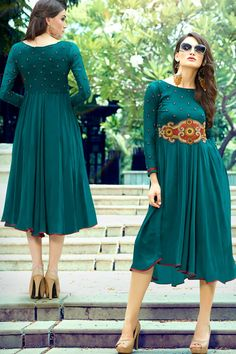 Navy Georgette Stitched Kurti With Inner