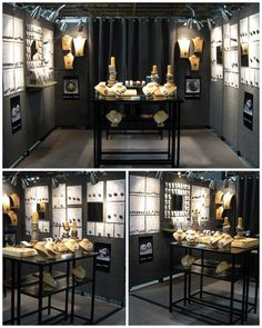 stonehouse Studio indoor booth.  Vertical displays