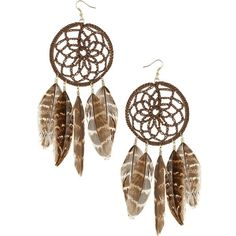 Dream catcher feather earrings ❤ liked on Polyvore