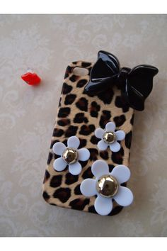 Cheetah/ leopard iPhone 4 iPhone 4s snap back decoden cellphone case can be purchased on etsy, shop name --> yelenasCraftsXo