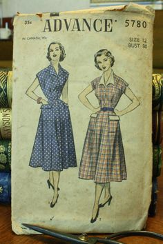 Advance 5780 1940s 40s Dress Sewing Pattern by EleanorMeriwether, $12.00